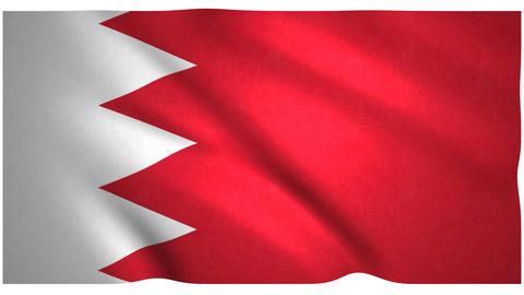 Flag of Bahrain waving on white background Animation