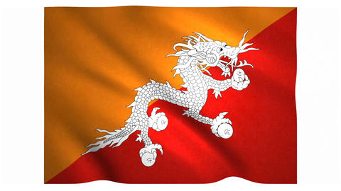 Flag of Bhutan waving on white background Animation