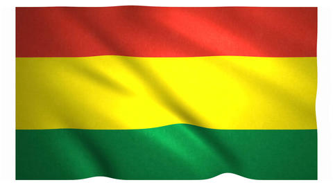 Flag of Bolivia waving on white background Animation