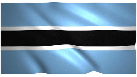 Flag of Botswana waving on white background Animation