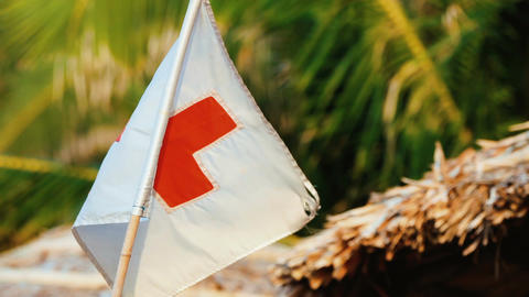 Medic red cross flag Archivo