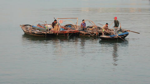 Fishing boats at Ha Long Bay Live Action