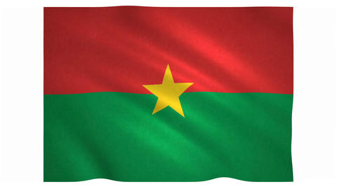 Flag of Burkina Faso waving on white background Animation