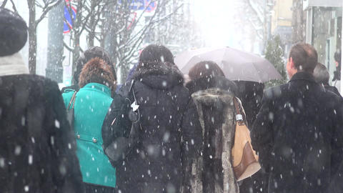 Group of citizen people walking through city center in heavy snow snowstorm Footage