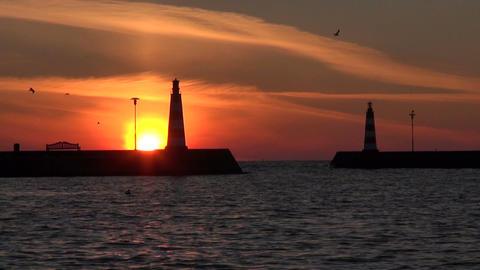 Lighthouses during sunrise Footage