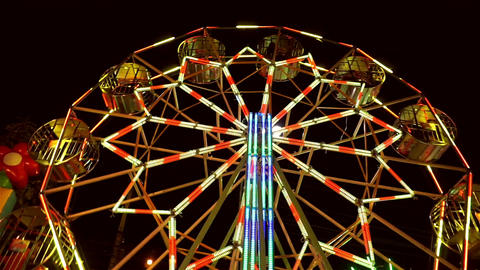 Thai ferris wheel at night market Footage