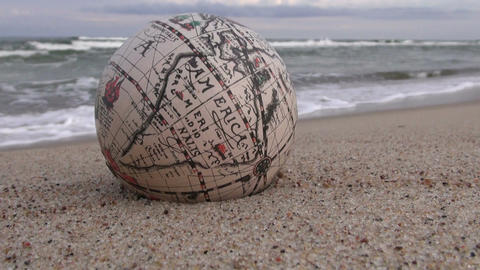 Retro globe on the beach Footage