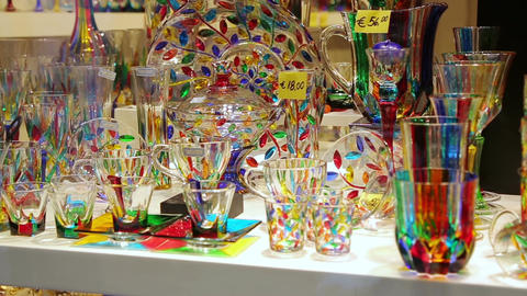 Venetian colorful souvenir from murano glass Footage