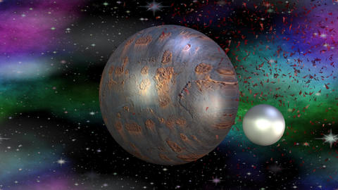 Fantasy metallic planet rotating in cosmos with her month, another red planet ex Image