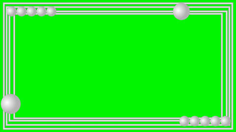 Video frame silver metallic strips with small moving balls on green matte, lower Animación