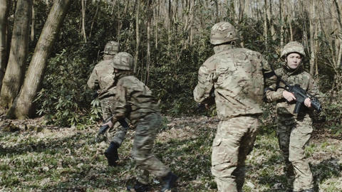Army Exercise in Forrest Footage