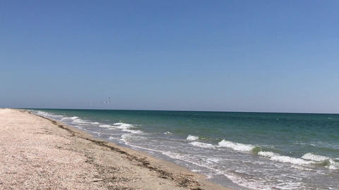 flock of sea gulls flying over the Black Sea, a clear summer day Footage
