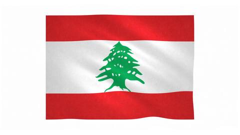Flag of Lebanon waving on white background Animation