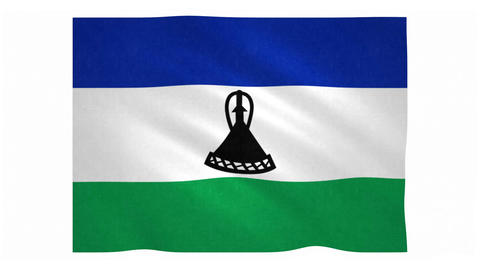 Flag of Lesotho waving on white background Animation