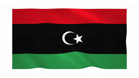 Flag of Libya waving on white background Animation