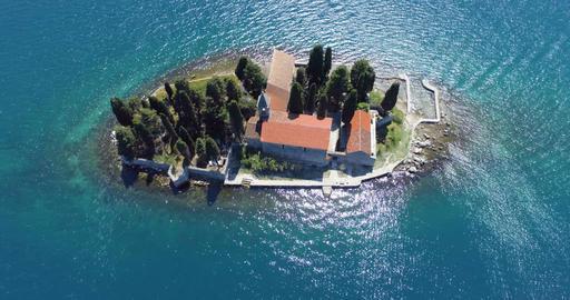 Saint George Island. Perast. Montenegro. Aerial Footage
