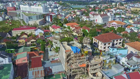 Fantastic Aerial View Large Modern City with Crazy House Footage
