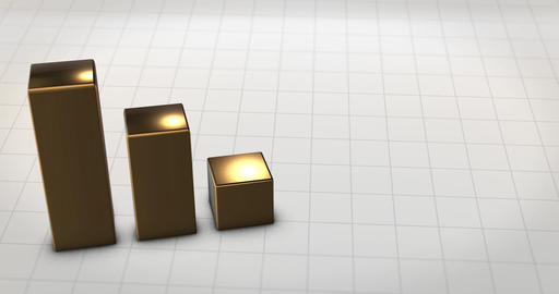 Gold Metallic Financial Bars rise up from aerial perspective Animation