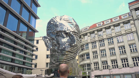Statue Metalmorphosis by David Cerny Footage