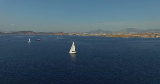 Sailboats Cruising at Egean Sea Bodrum, Turkey Animation