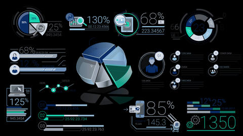Corporate Infographic Elements With Alpha Channel Animation