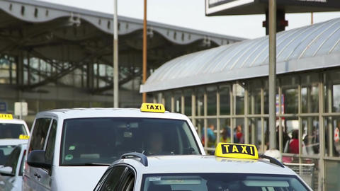 The queue of taxis outside the airport Footage