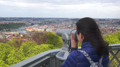 Young caucasian woman considers the landmarks Footage