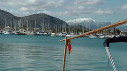 Spain Mallorca Island Port d'Alcudia 005 snow covered mountains and blue water Footage