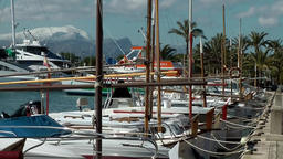 Spain Mallorca Island Port d'Alcudia 006 snow covered mountain and yacht harbor