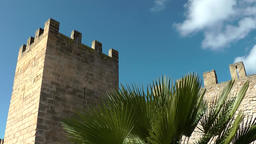 Spain Mallorca Island Alcudia 011 fortress watchtower with palm leaves Footage