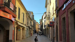 Spain Mallorca Island Alcudia 017 alley with old pastel colored houses Footage