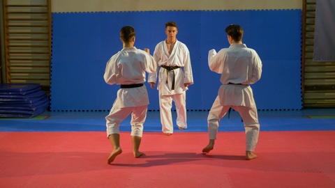 Young men performing self defense karate sequence demonstration at the dojo Footage
