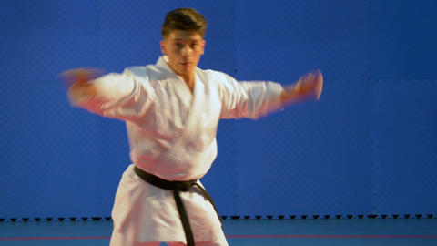 Kata training performed by martial arts practitioner at the dojo Footage