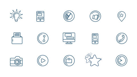 Social Media Icons Set With Alpha Channel Animation