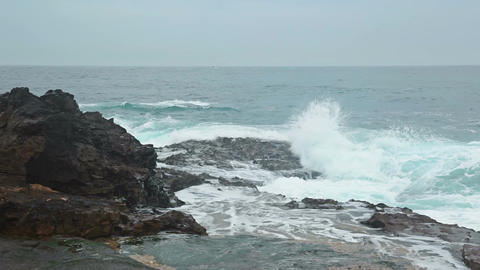 Ocean Surf and Rocky Shore Footage