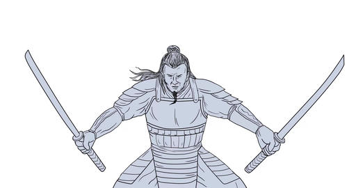 Samurai Warrior Two Swords 2D Animation Animation