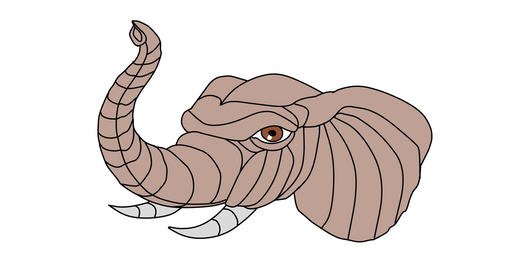 Elephant Head Playing With Trunk 2D Animation Animation