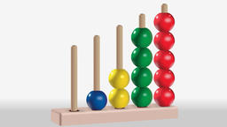 Animation of wooden five colored abacus toy