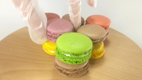 Colorful Macaroons on stand Footage