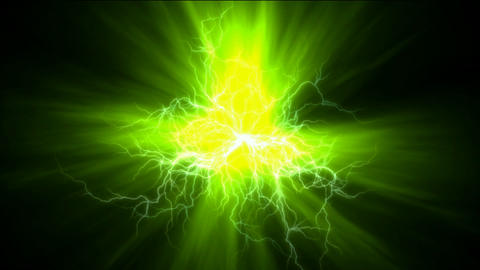 lightning magnetic field & green rays laser Stock Video Footage