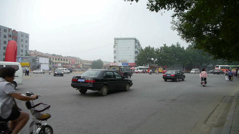 Urban town busy road traffic,China Chinese people Stock Video Footage