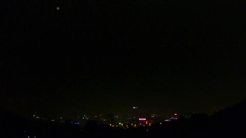 city vision at night,Night moon view Stock Video Footage