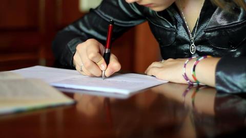 girl doing homework. 7 Stock Video Footage