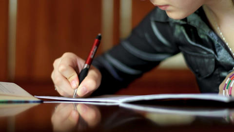 girl doing homework. 3 Stock Video Footage