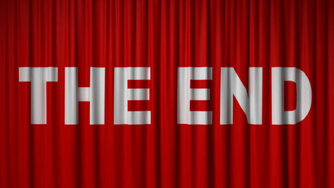"""closing red curtain with title """"the end"""" Stock Video Footage"""