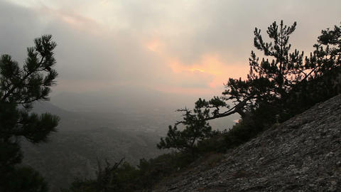 sunrise in the mountains. Noviy Svet, Crimea, Ukraine Stock Video Footage
