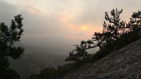 sunrise in the mountains. Noviy Svet, Crimea, Ukraine Stock Video Footage