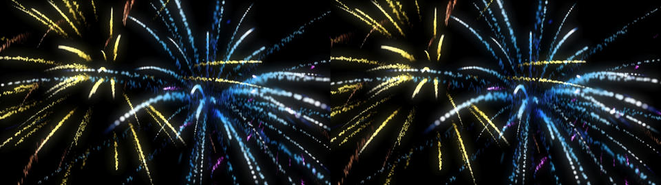 Fireworks Looping - Stereoscopic 3D Stock Video Footage