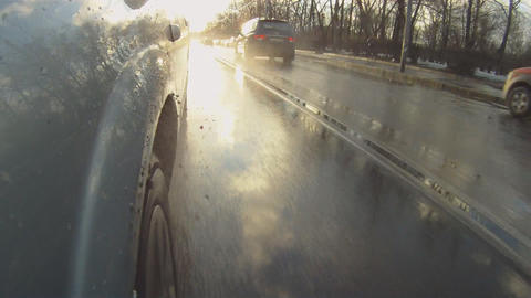car goes through the puddles Stock Video Footage