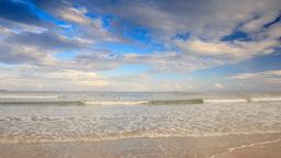 Little Blond Boy Runs to Foamy Waves of Shallow Sea on Beach Footage
